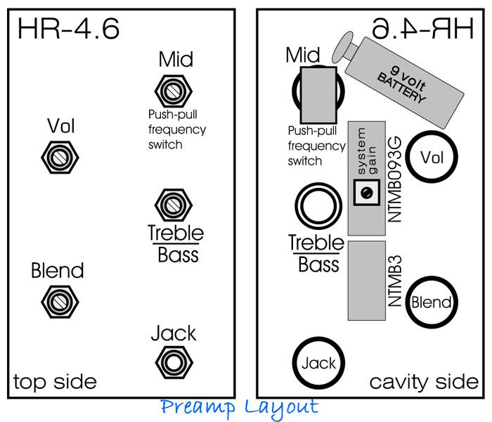 Bartolini 4.6//918 Preamp Active Harness Bass Preamp